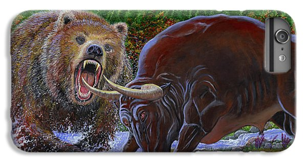 Bull And Bear IPhone 6 Plus Case by Carey Chen
