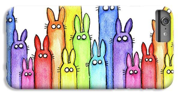 Bunny Rainbow Pattern IPhone 6 Plus Case by Olga Shvartsur