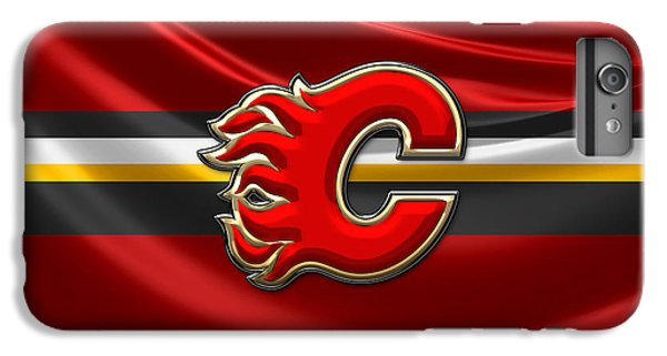 Sport iPhone 6 Plus Case - Calgary Flames - 3d Badge Over Flag by Serge Averbukh