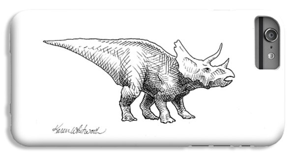 Cera The Triceratops - Dinosaur Ink Drawing IPhone 6 Plus Case by Karen Whitworth