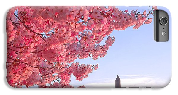 Cherry Tree And The Washington Monument  IPhone 6 Plus Case by Olivier Le Queinec