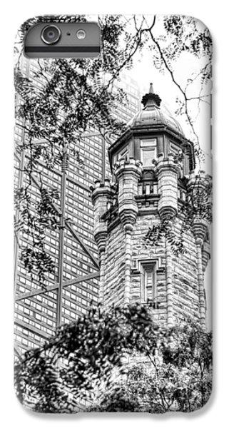 IPhone 6 Plus Case featuring the photograph Chicago Historic Water Tower Fog Black And White by Christopher Arndt