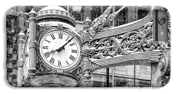 IPhone 6 Plus Case featuring the photograph Chicago Marshall Field State Street Clock Black And White by Christopher Arndt