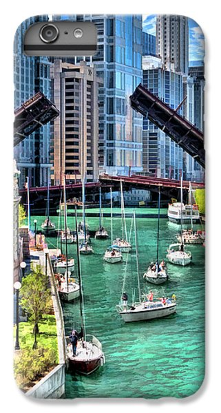 IPhone 6 Plus Case featuring the painting Chicago River Boat Migration by Christopher Arndt