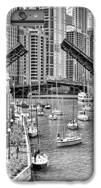 IPhone 6 Plus Case featuring the photograph Chicago River Boat Migration In Black And White by Christopher Arndt