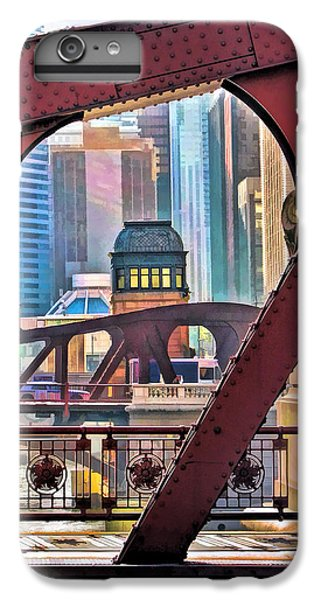 IPhone 6 Plus Case featuring the painting Chicago River Bridge Framed by Christopher Arndt