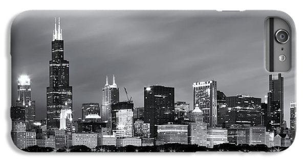 IPhone 6 Plus Case featuring the photograph Chicago Skyline At Night Black And White  by Adam Romanowicz