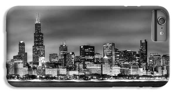 City Scenes iPhone 6 Plus Case - Chicago Skyline At Night Black And White by Jon Holiday