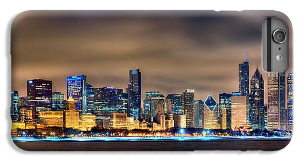 Chicago Skyline At Night Panorama Color 1 To 3 Ratio IPhone 6 Plus Case by Jon Holiday