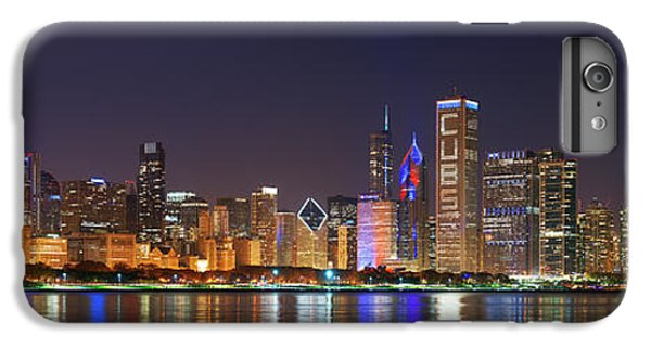 Chicago Skyline With Cubs World Series Lights Night, Chicago, Cook County, Illinois,  IPhone 6 Plus Case