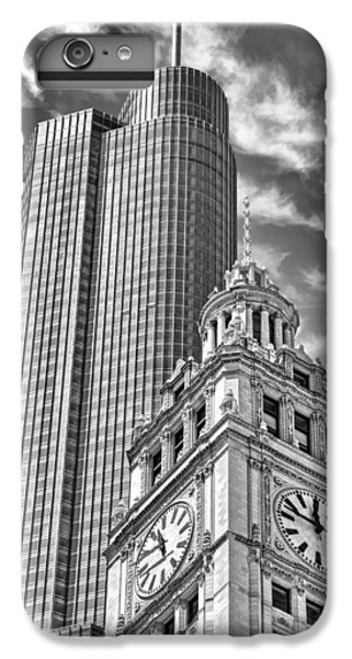 IPhone 6 Plus Case featuring the photograph Chicago Trump And Wrigley Towers Black And White by Christopher Arndt