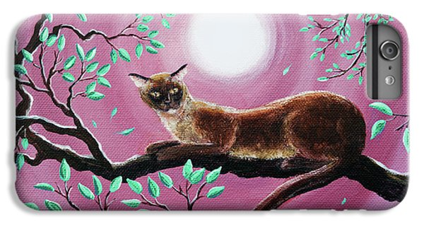 Chocolate Burmese Cat In Dancing Leaves IPhone 6 Plus Case by Laura Iverson