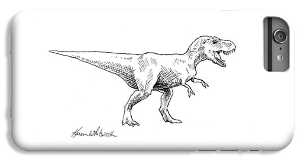 Tyrannosaurus Rex Dinosaur T-rex Ink Drawing Illustration IPhone 6 Plus Case by Karen Whitworth
