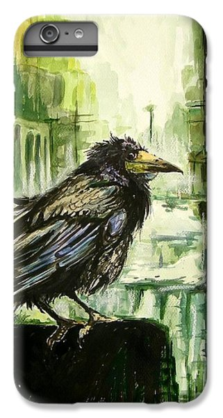 Sparrow iPhone 6 Plus Case - Cityscape With A Crow by Suzann's Art