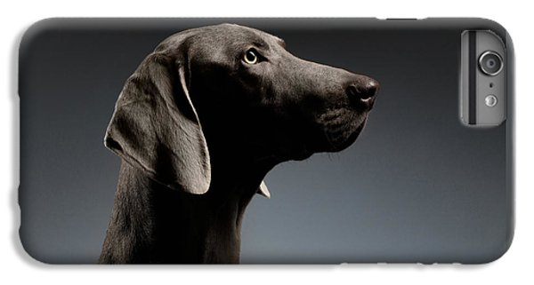 Close-up Portrait Weimaraner Dog In Profile View On White Gradient IPhone 6 Plus Case