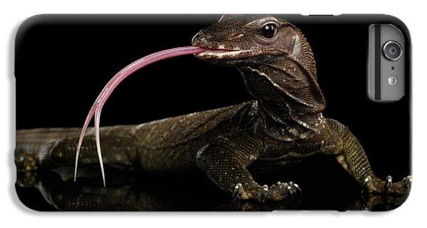 Close-up Varanus Rudicollis Isolated On Black Background IPhone 6 Plus Case by Sergey Taran
