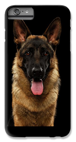 Dog iPhone 6 Plus Case - Closeup Portrait Of German Shepherd On Black  by Sergey Taran