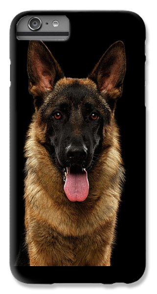 Closeup Portrait Of German Shepherd On Black  IPhone 6 Plus Case by Sergey Taran