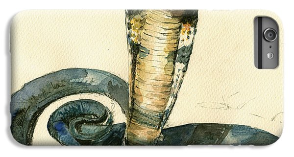 Garden Snake iPhone 6 Plus Case - Cobra Snake Watercolor Painting Art Wall by Juan  Bosco
