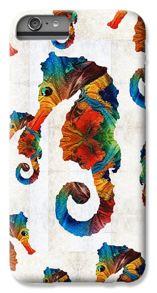 Colorful Seahorse Collage Art By Sharon Cummings IPhone 6 Plus Case by Sharon Cummings