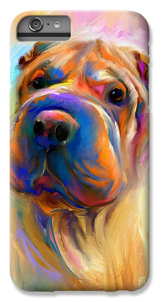 Colorful Shar Pei Dog Portrait Painting  IPhone 6 Plus Case by Svetlana Novikova