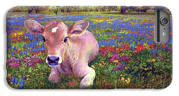 Cow iPhone 6 Plus Case - Contented Cow In Colorful Meadow by Jane Small