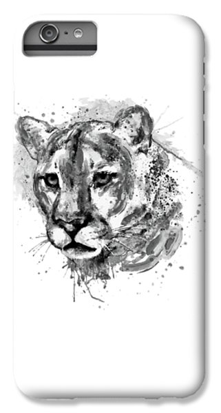 Lion Head iPhone 6 Plus Case - Cougar Head Black And White by Marian Voicu