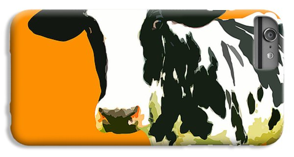 Cow iPhone 6 Plus Case - Cow In Orange World by Peter Oconor