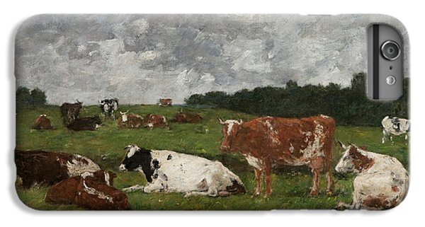 Cows At The Pasture IPhone 6 Plus Case by Eugene Louis Boudin