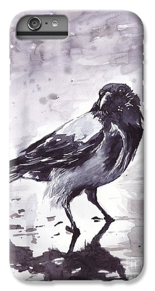 Sparrow iPhone 6 Plus Case - Crow Watercolor by Suzann's Art