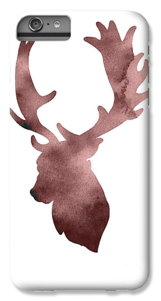 Deer iPhone 6 Plus Case - Deer Head Silhouette Minimalist Painting by Joanna Szmerdt