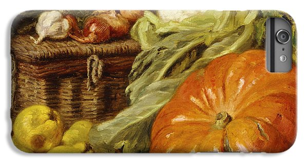 Cauliflower iPhone 6 Plus Case - Detail Of A Still Life With A Basket, Pears, Onions, Cauliflowers, Cabbages, Garlic And A Pumpkin by Eugene Claude
