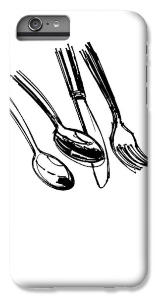 Diner Drawing Spoons, Knife, And Fork IPhone 6 Plus Case by Chad Glass