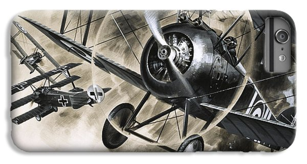Dog Fight Between British Biplanes And A German Triplane IPhone 6 Plus Case by Wilf Hardy