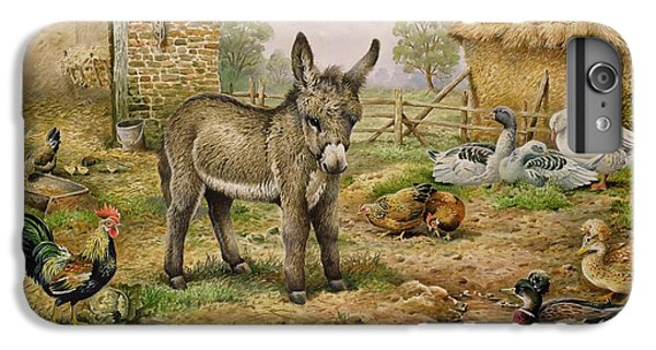 Donkey And Farmyard Fowl  IPhone 6 Plus Case by Carl Donner