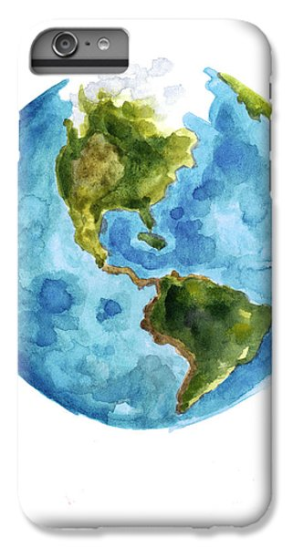 Earth America Watercolor Poster IPhone 6 Plus Case by Joanna Szmerdt
