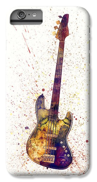 Guitar iPhone 6 Plus Case - Electric Bass Guitar Abstract Watercolor by Michael Tompsett