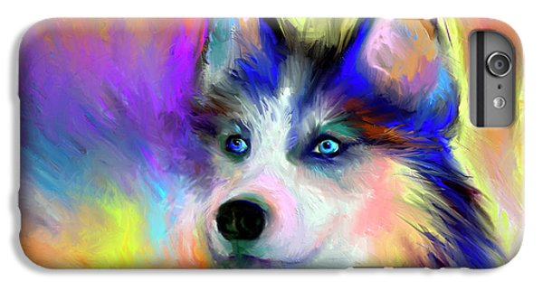 Electric Siberian Husky Dog Painting IPhone 6 Plus Case by Svetlana Novikova