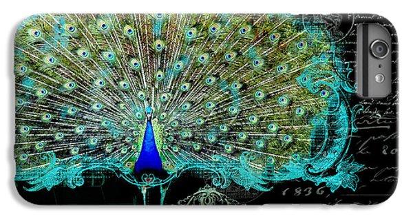 Elegant Peacock W Vintage Scrolls 3 IPhone 6 Plus Case by Audrey Jeanne Roberts