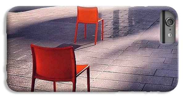 Orange iPhone 6 Plus Case - Empty Chairs At Mint Plaza by Julie Gebhardt