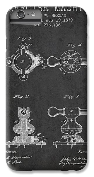 Workout iPhone 6 Plus Case - Exercise Machine Patent From 1879 - Charcoal by Aged Pixel