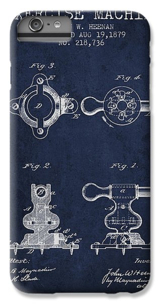 Workout iPhone 6 Plus Case - Exercise Machine Patent From 1879 - Navy Blue by Aged Pixel
