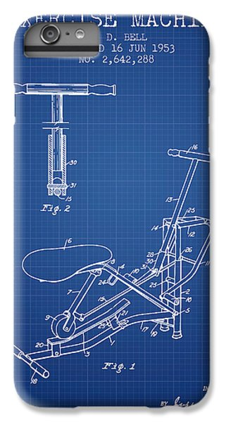 Workout iPhone 6 Plus Case - Exercise Machine Patent From 1953 - Blueprint by Aged Pixel
