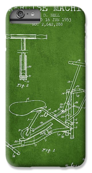 Workout iPhone 6 Plus Case - Exercise Machine Patent From 1953 - Green by Aged Pixel