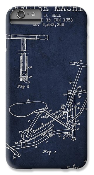Workout iPhone 6 Plus Case - Exercise Machine Patent From 1953 - Navy Blue by Aged Pixel