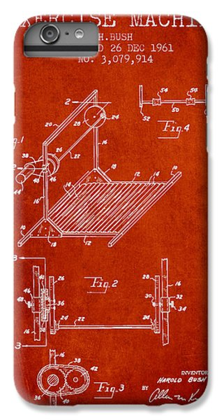 Workout iPhone 6 Plus Case - Exercise Machine Patent From 1961 - Red by Aged Pixel