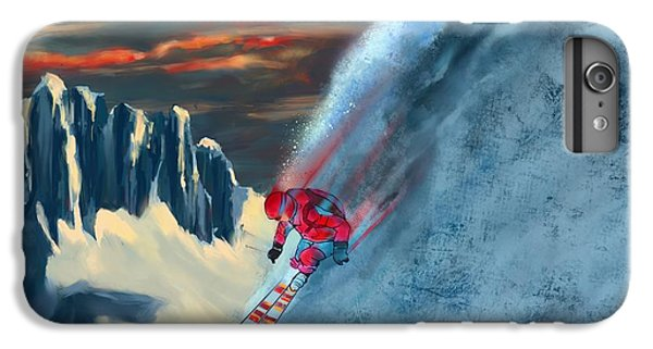 Mountain Sunset iPhone 6 Plus Case - Extreme Ski Painting  by Sassan Filsoof