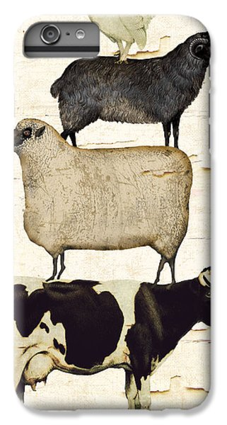 Cow iPhone 6 Plus Case - Farm Animals Pileup by Mindy Sommers