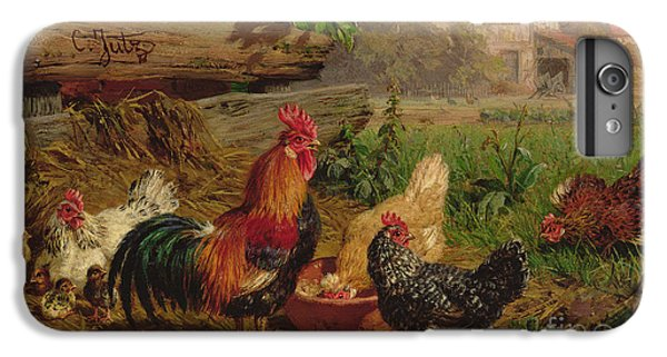 Farmyard Chickens IPhone 6 Plus Case by Carl Jutz