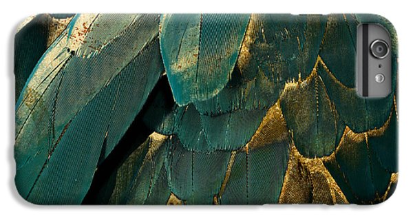 Feather Glitter Teal And Gold IPhone 6 Plus Case by Mindy Sommers